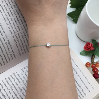*Le Bonheur happy Line line*925 Silver Clover / red hand rope silver bracelet Clover green line mint green ultra-small mini