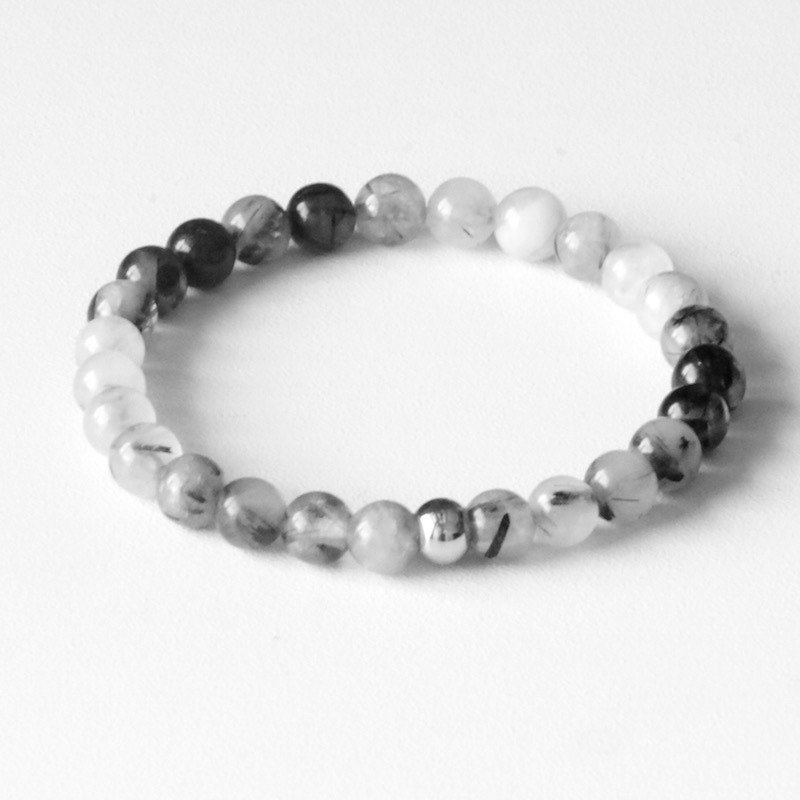 ITS-B117 [natural stone, unique charm] 6mm bracelet. Black hair crystal / gray agate / blue sand stone