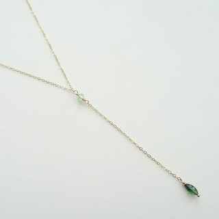 Tiny Rondelle and Marquise Tourmaline Dainty 14K GF Y-Necklace - Green