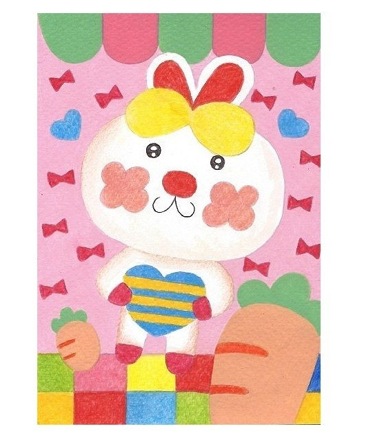 Pure hand-painted pink rainbow bunny postcard