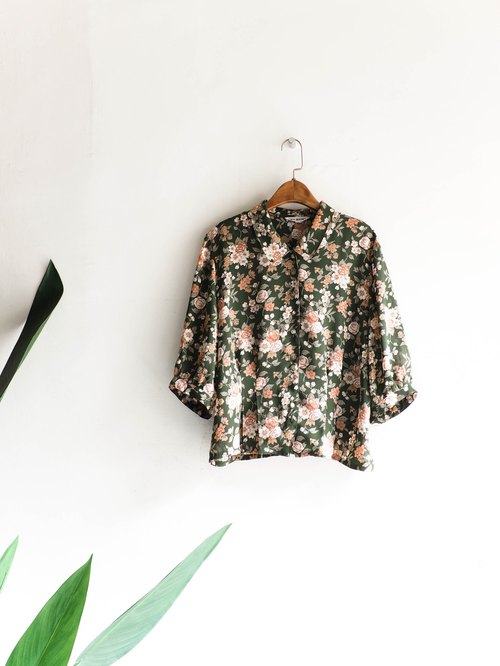Rivers and mountains - Yamagata dark green flowers spring weekend party antique silk shirt shirt shirt oversize vintage