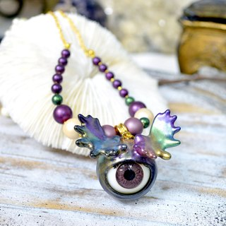 TIMBEE LO Rainbow Antler Eyeball Necklace Monster Series Shell Pearl Plated Gold Necklace