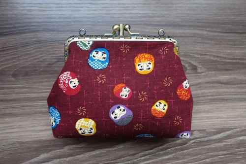 Swing handmade double fold three fold Dharma mouth gold package Japanese cute can be diagonal cross handbag