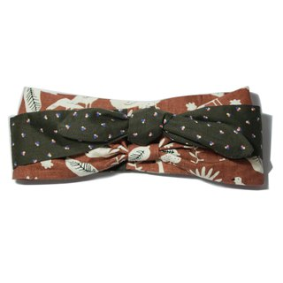 Lu Lita Japanese cotton and linen hair band literary retro cotton and linen peacock dot stitching multi-purpose headband