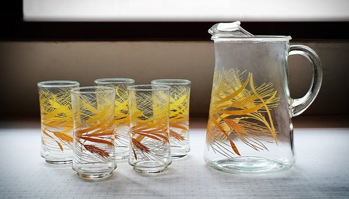 Early imports of cold water cup pot sets - gold ear wheat pot of five cups (tableware / old goods / old things / glass / Libbey)