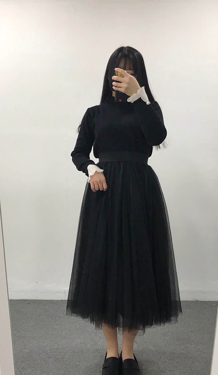 [With models] heartbeat │ life hanbok tulle lining skirt │ black