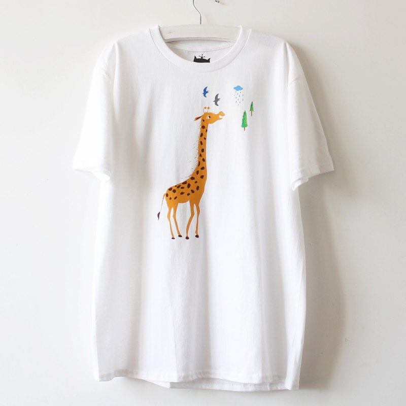 Giraffe Screen Print T shirt I Cat Lover