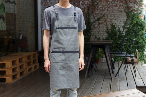 Gray Green x Mist Black Handmade Leather Canvas Double Leather Strip Pocket Apron