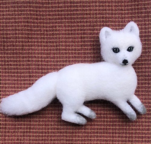 Arctic fox - hand made wool felt pins