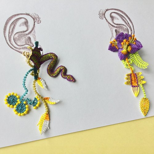ARRO Embroidery Earrings / Garden purple