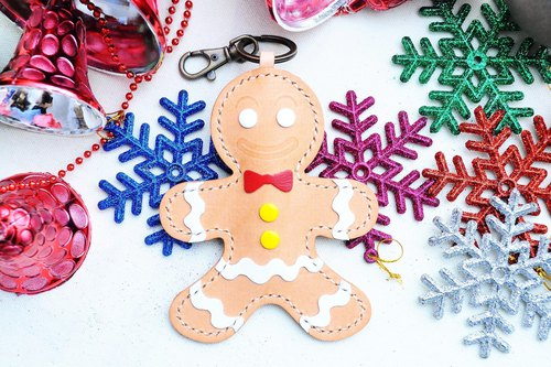 [Gingerbread man key ring] Good sewing leather bag free lettering handmade package couple gifts Keychain key package Keychain storage simple and practical Italian leather vegetable tanned leather DIY companion leather cowhide Christmas gifts