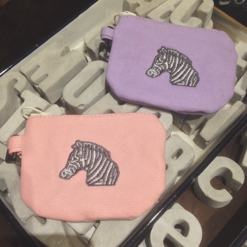Meng Meng another on the embroidery zebra purse / card pack - Pink / Purple