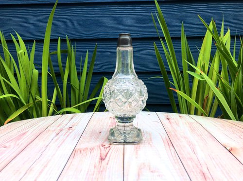Hand-blown glass bottle/medicinal bottle/cruet bottle hundred years old H section