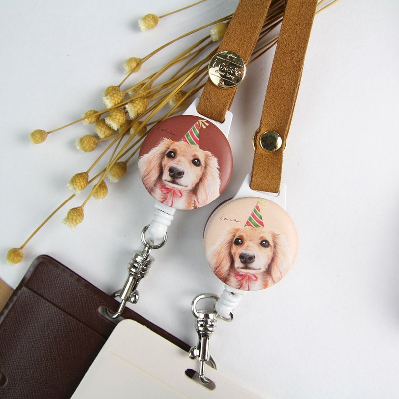 i Good wearing telescopic certificate ticket holder - hand-painted style series - H21. Dachshund