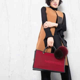 Mesheen fashion real leather double-sided light mesh side hit the color shoulder bag (Bordeaux)