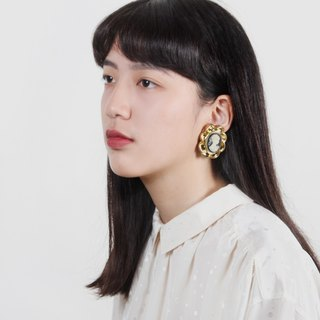 [Egg Plant Vintage] Miss Josephine clip-style antique earrings