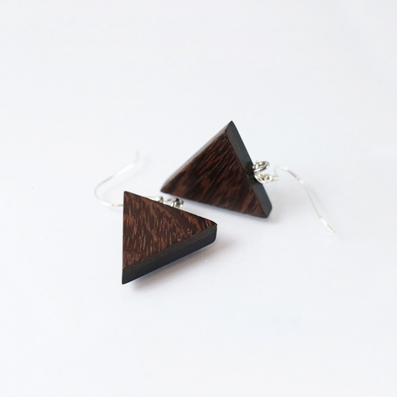 Triangle biocolor dangle earrings - Wenge x rosewood