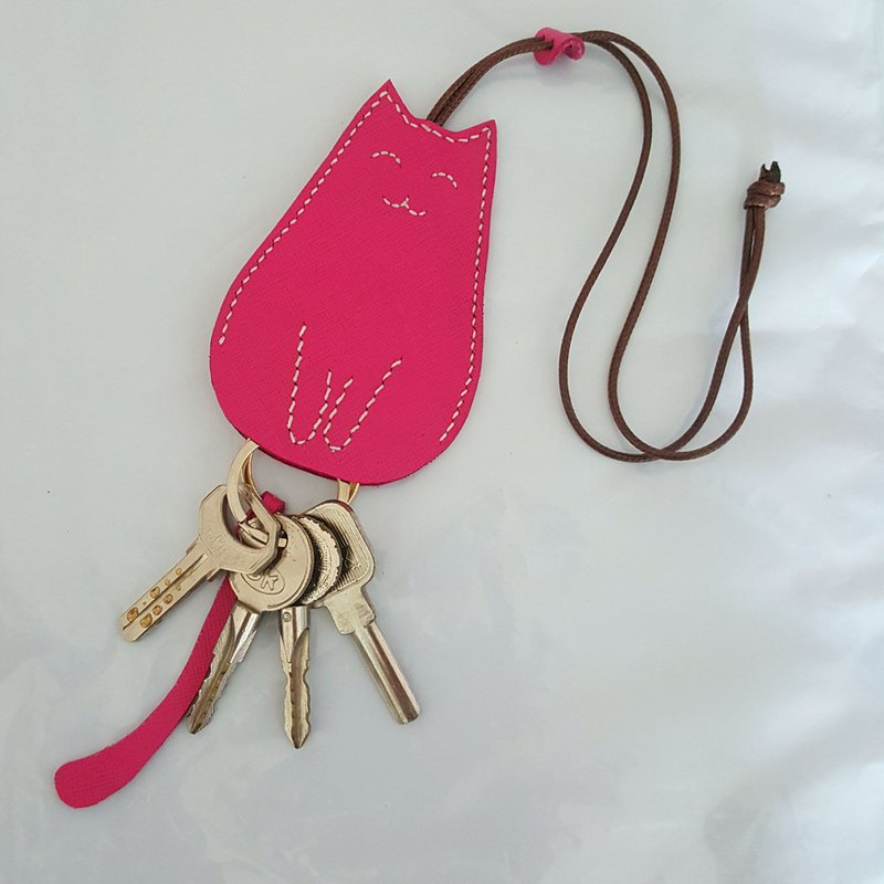 Custom Engrave Kitty Keyring Leather Key Chain Key Case Graduate Gift