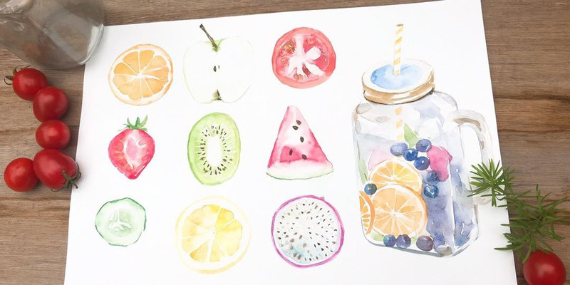 Experience activities. Summer Fruit Iced Tea / Watercolor Rendering / Summer Limited