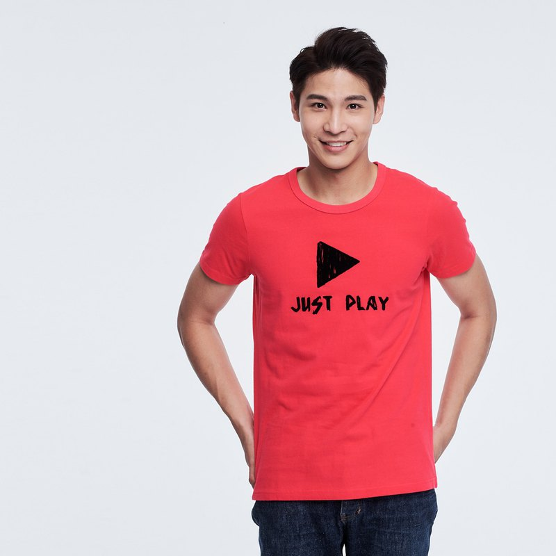 JUST PLAY peach cotton short sleeve T-shirt Man