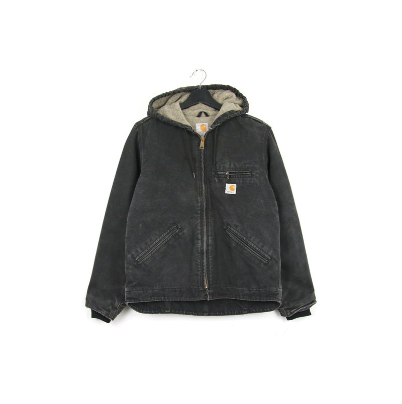 Back to Green :: Carhartt Cotton Washed Black Hooded Jacket // vintage