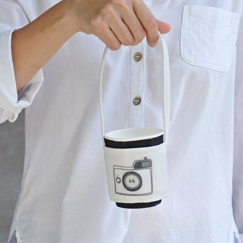 Personalized Name Camera Print Drinks Beverage Cup Holder Bag