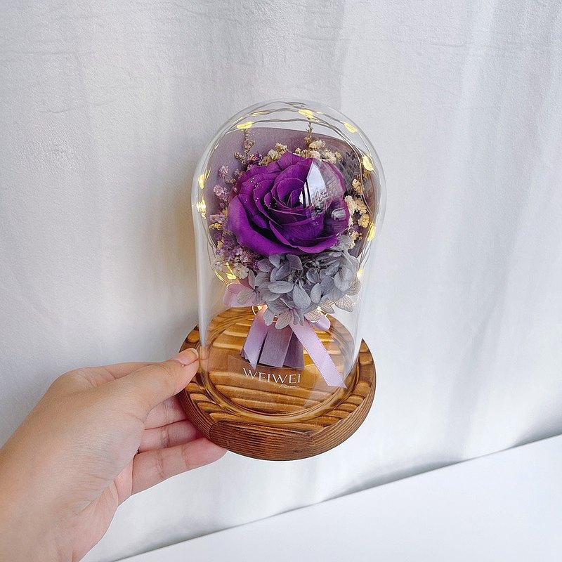 【獨家USB款】LED玫瑰小花束永生花玻璃鐘罩【紫羅蘭】