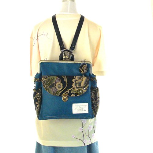 3 WAY Left zipper compact Japanese pattern backpack Blue Green × Black Rose