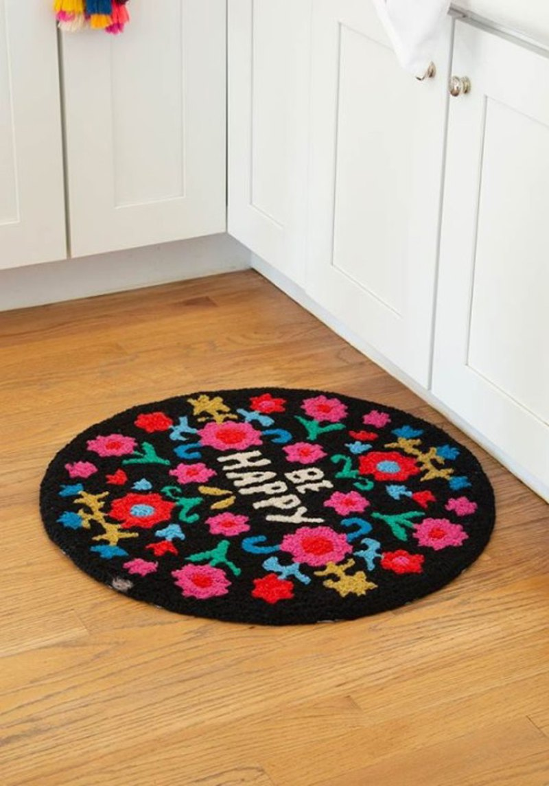 Short fluff round carpet / floor mat - Be Happy | RUG023