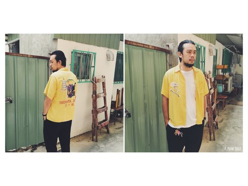 A‧PRANK: DOLLY :: retro VINTAGE brand TOYO Toyo bowling shirt (yellow embroidery models T708011)