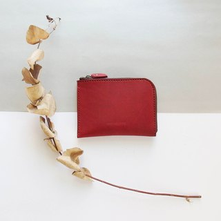 Classic L zipper accompanying short clip - Burgundy - Leather / Purse / Fashion / Handmade / Practical / Color