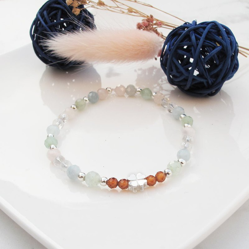Big staff Taipa [handmade silver] orange pomegranate × white crystal × Morgan stone lucky grass natural stone bracelet