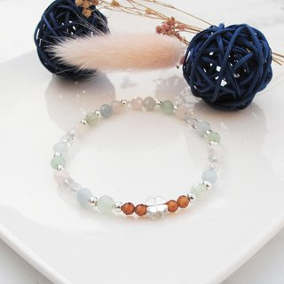 Bigman Taipa [Handmade Silver] Orange Pomegranate × White Crystal × Morgan Stone Lucky Grass Natural Stone Bracelet