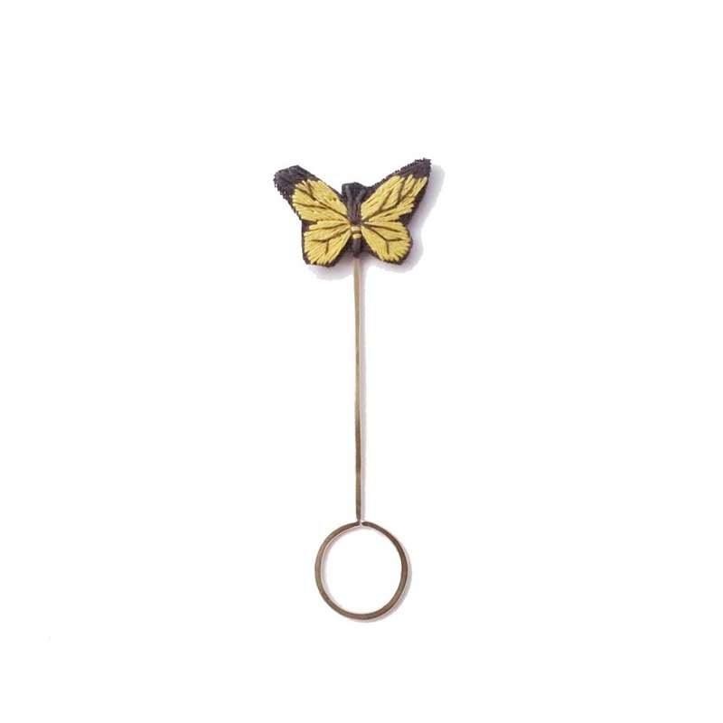 Hand-embroidered metal ring bookmark-yellow glazed butterfly