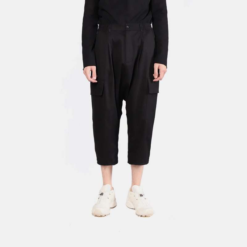 Double pocket low-end cropped trousers