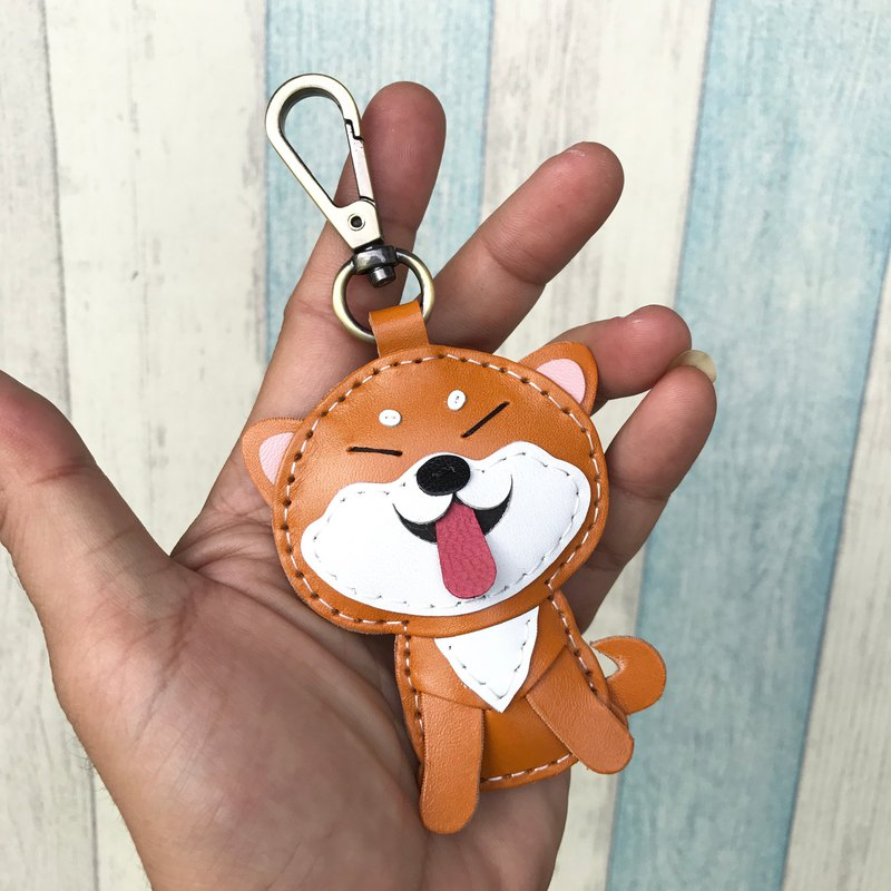 Handmade tea / beige Shiba Inu dog hand-stitched leather keychain small size