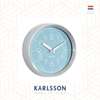 Karlsson, Wall clock Convex glass dusk blue, brushed aluminum case