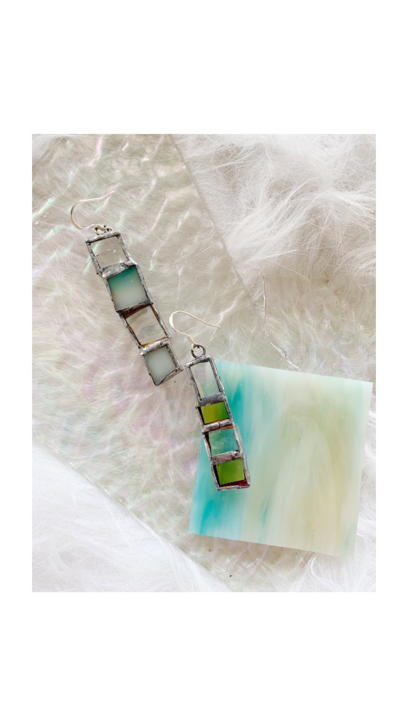 Asymmetrical iridescent mosaic glass sterling silver ear hook
