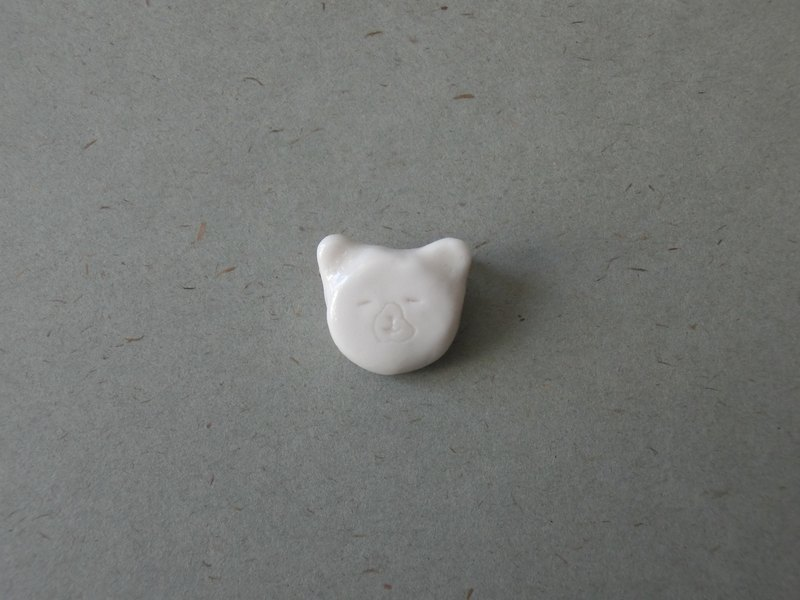 Ceramic pin/ Brooch - White Sleepy Polar Bear