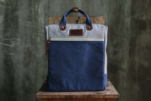 BAGYARD - Canvas Bag: BAG BREAD Size M Dark Gray / Navy