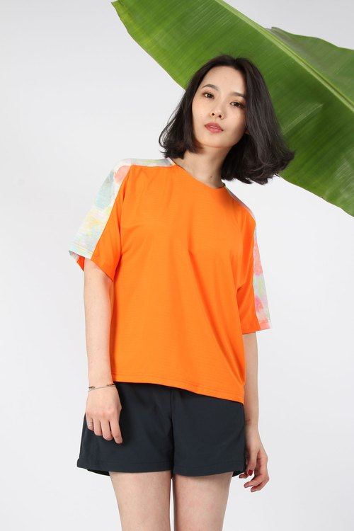 Translucent flower sleeve reflective suction row top - sparkling tangerine