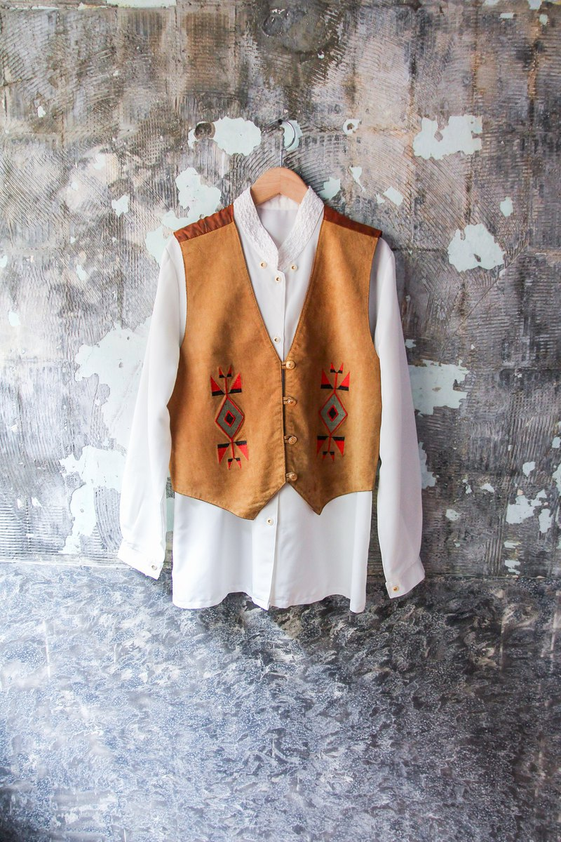 袅袅 department store -Vintage suede stitching satin amoeba flower vest retro