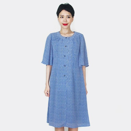 Small blue short-sleeved chiffon clouds vintage dress AM8014
