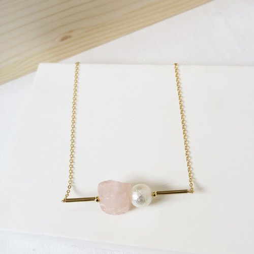 Pink Rose Quartz Raw Stone Necklace