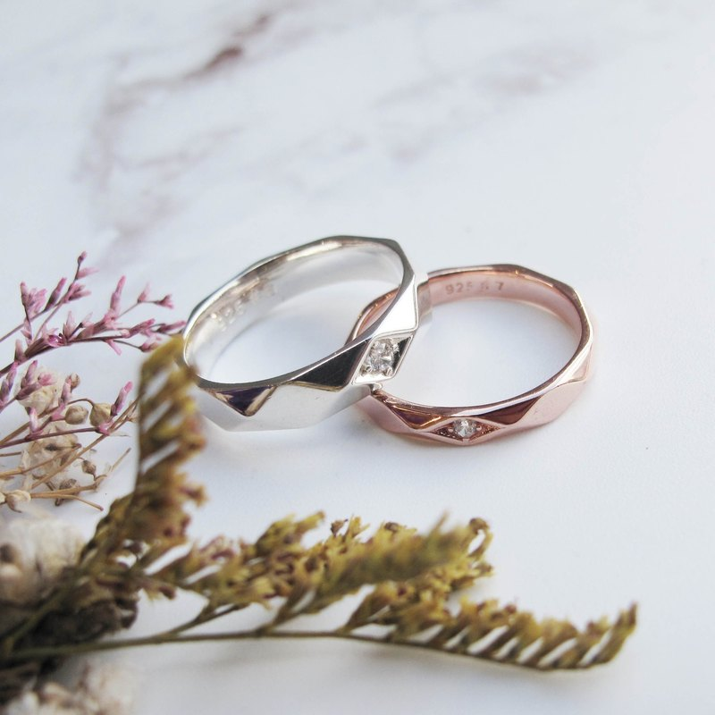 Big staff Taipa [couples ring] love highlights sterling silver × rose gold couple ring (pair)