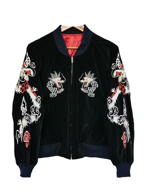 ♦ invincible children music vintage Japanese input line ♦ classic vintage double large momentum Raptors X Phoenix velvet coat embroidered cotton shop Yokosuka