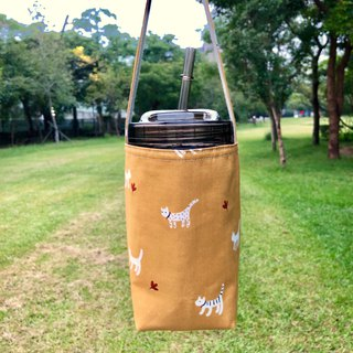 Autumn cat cotton cloth drink bag 720ml wide mouth mason cup with cup lid straw