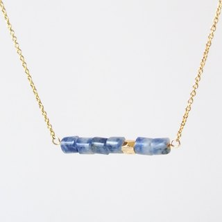Minimalist blue stone 14K package gold beads gold-plated necklace (45cm / 18 inch) gift