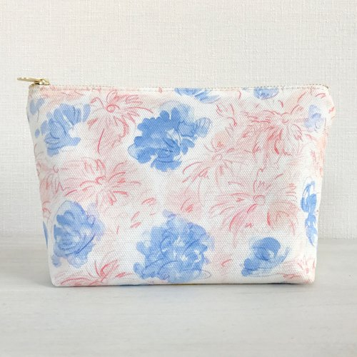 Joy Flowery gusseted pouch Pink × Blue