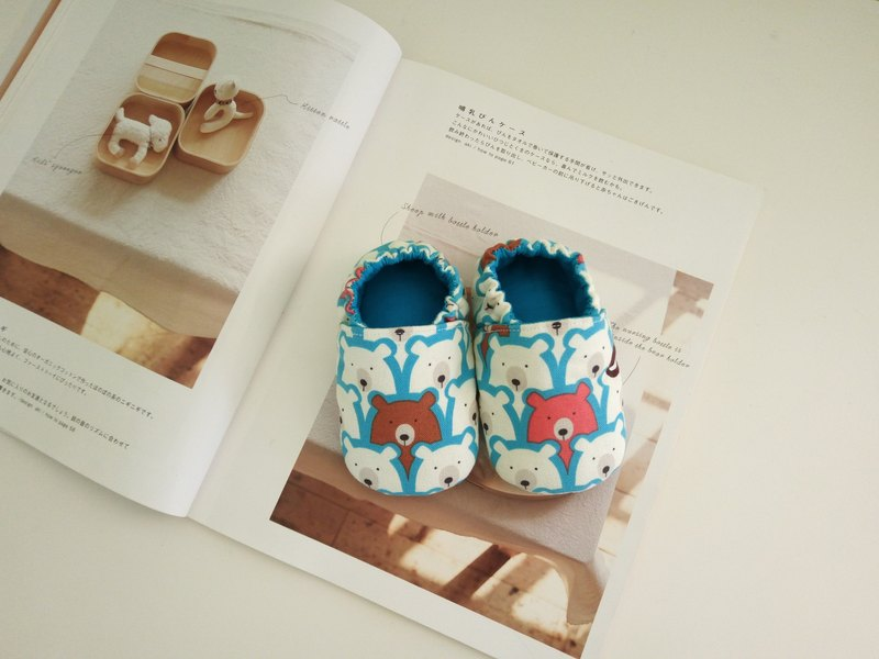 Bear lined up a birthday gift baby shoes baby Shoes long 15/16